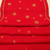 """Tablecloths handmade. Livemaster - original item Новогодняя Дорожка с Вышивкой """"Снежный лес"""". Handmade."""