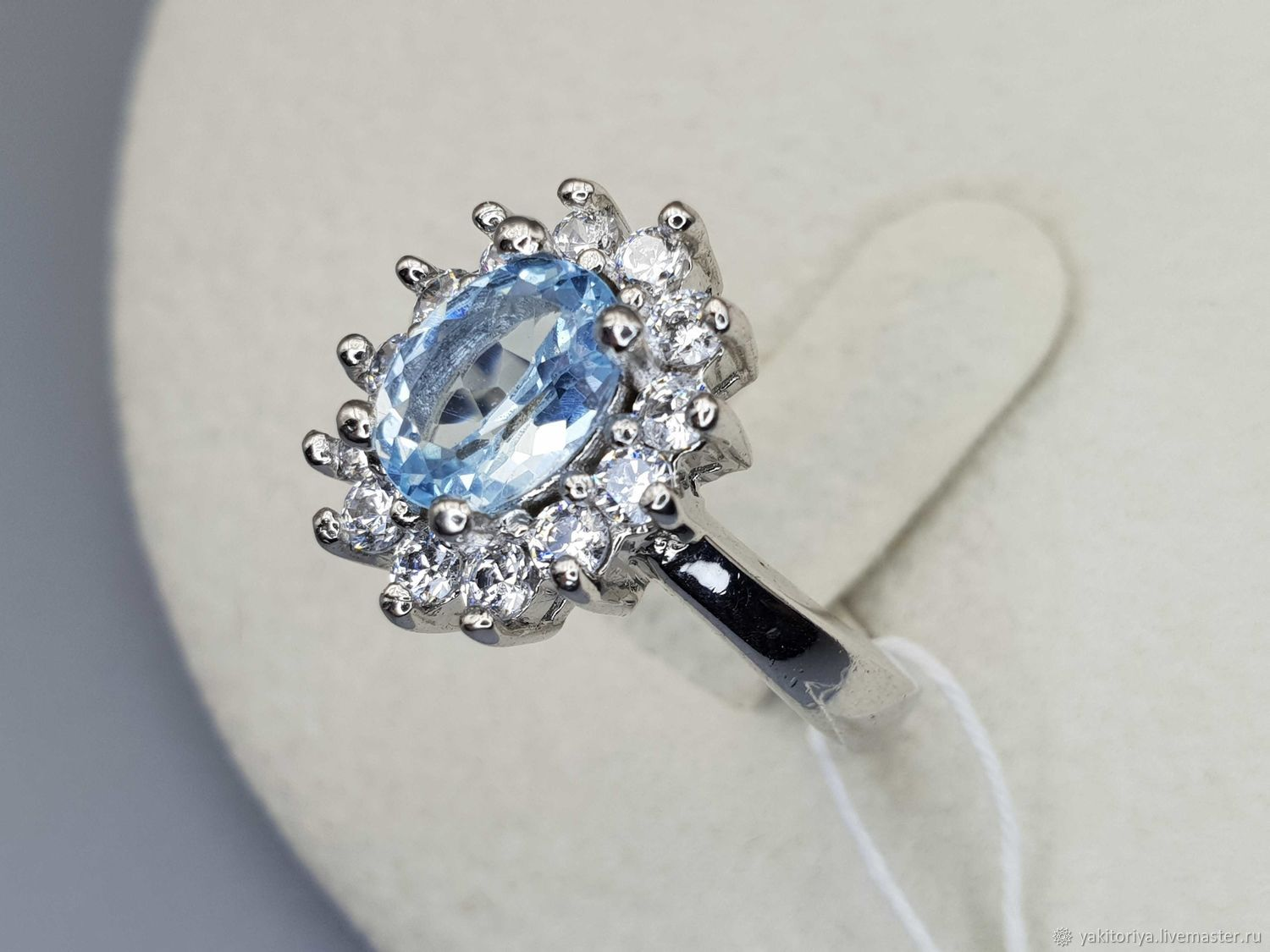 Silver ring with topaz 8h6 mm and cubic zirconia, Rings, Moscow,  Фото №1