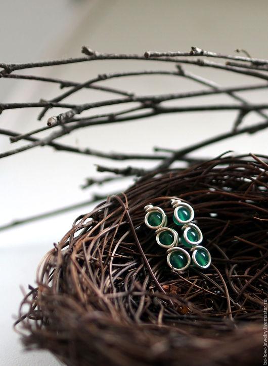Серьги ручной работы. Ярмарка Мастеров - ручная работа. Купить Серебряные серьги с зеленым ониксом. Handmade. Зеленый, серьги с ониксом