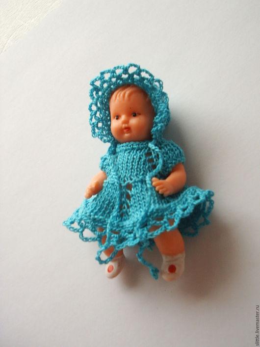 Одежда для кукол ручной работы. Ярмарка Мастеров - ручная работа. Купить Платьице и шапочка на мини куколку. Handmade. Бирюзовый