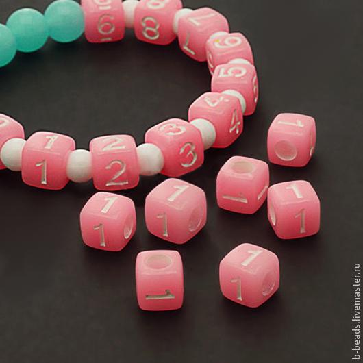 Для украшений ручной работы. Ярмарка Мастеров - ручная работа. Купить Бусины люминисцентные цифра 1 ( розовые ). Handmade.