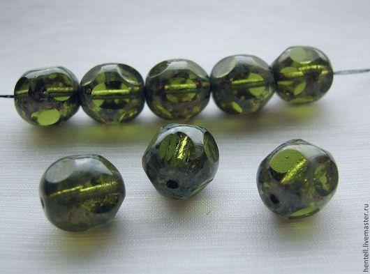 Бусина с круглыми гранями 10 мм, оливин