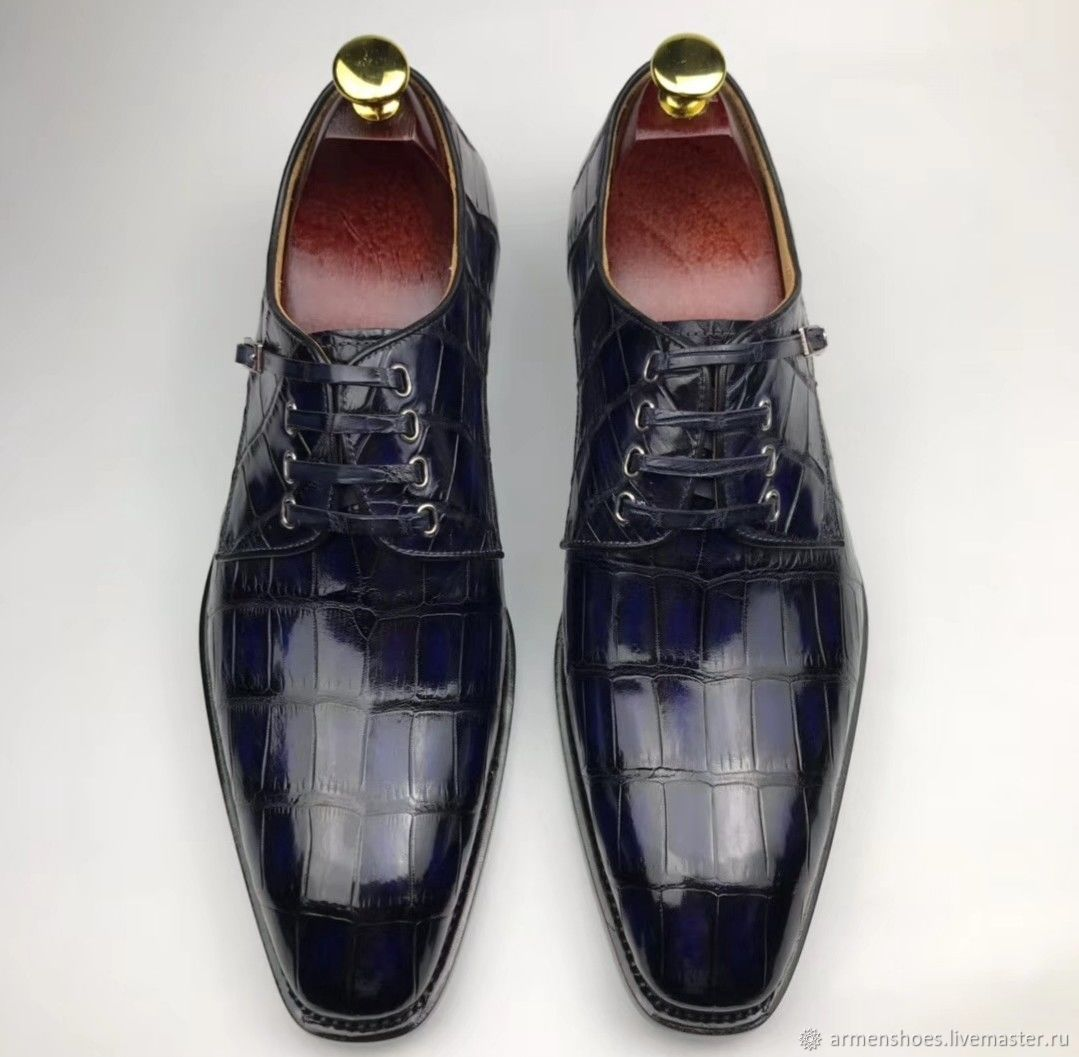 Men's shoes, crocodile leather, in dark blue!, Shoes, Tosno,  Фото №1
