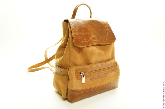 Рюкзаки ручной работы. Ярмарка Мастеров - ручная работа. Купить Сумка рюкзак кожаный. Кожаный рюкзак рыжий замшевый.. Handmade.