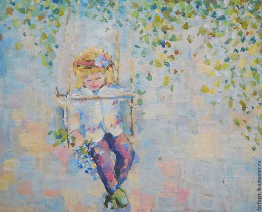 Люди, ручной работы. Ярмарка Мастеров - ручная работа. Купить Картина. Девочка на качелях. Весна.. Handmade. Зеленый, девочка