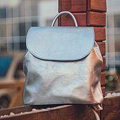 """Рюкзаки ручной работы. Ярмарка Мастеров - ручная работа Рюкзак кожаный женский """"Oliver"""" (Серебристый). Handmade."""