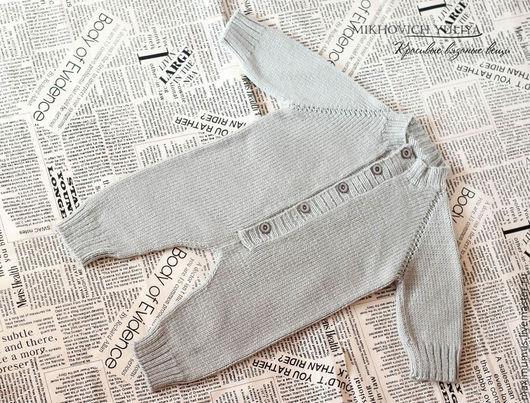 Одежда ручной работы. Ярмарка Мастеров - ручная работа. Купить Вязаный комбинезон для новорожденного. Handmade. Серебряный, вязаный комбинезон, полушерсть