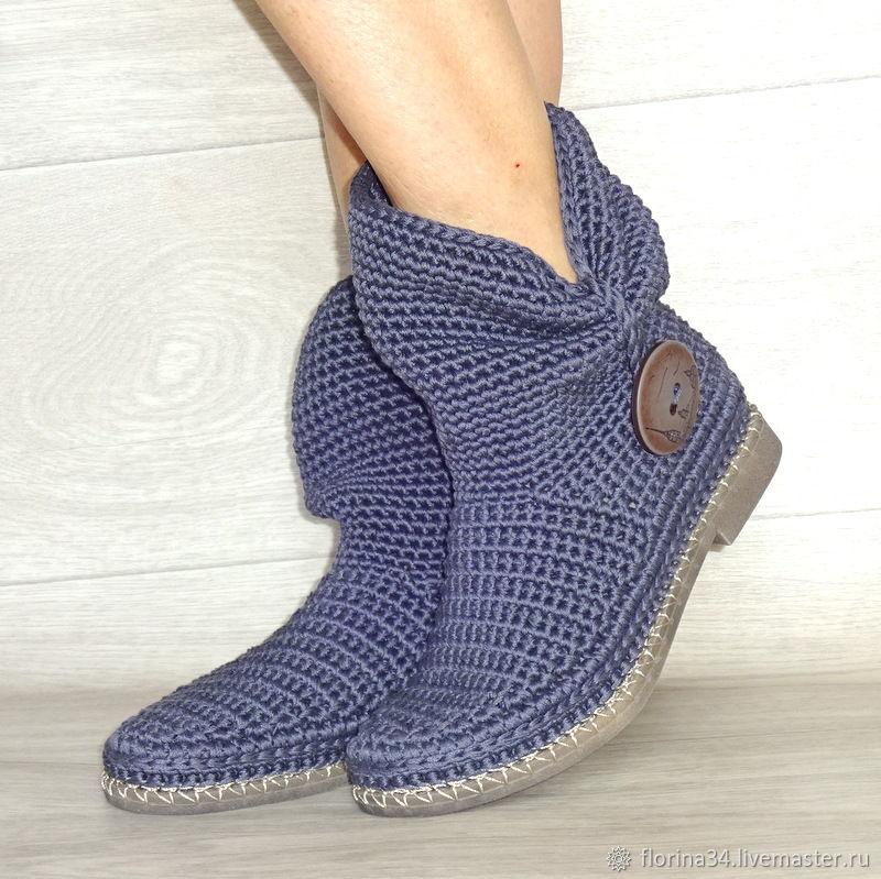 Обувь ручной работы. Ярмарка Мастеров - ручная работа. Купить Сапожки вязаные с пуговицей, темно-серый хлопок. Handmade. Ботильоны