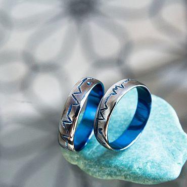Свадебный салон ручной работы. Ярмарка Мастеров - ручная работа Обручальные кольца из титана с ручной гравировкой. Необычные кольца. Handmade.