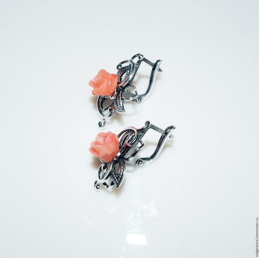 """Серьги ручной работы. Ярмарка Мастеров - ручная работа. Купить Серьги """"Розы для Ангела"""" коралл, посеребреная фурнитура. Handmade."""
