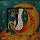 Животные ручной работы. Коты на луне (роспись стекла). Vittoria Art. Интернет-магазин Ярмарка Мастеров. Картинка, луна, контур