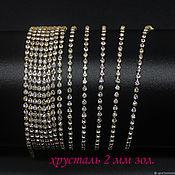 Материалы для творчества handmade. Livemaster - original item SS6 rhinestone chain 2 mm Crystal in gold DACs 10 cm. Handmade.