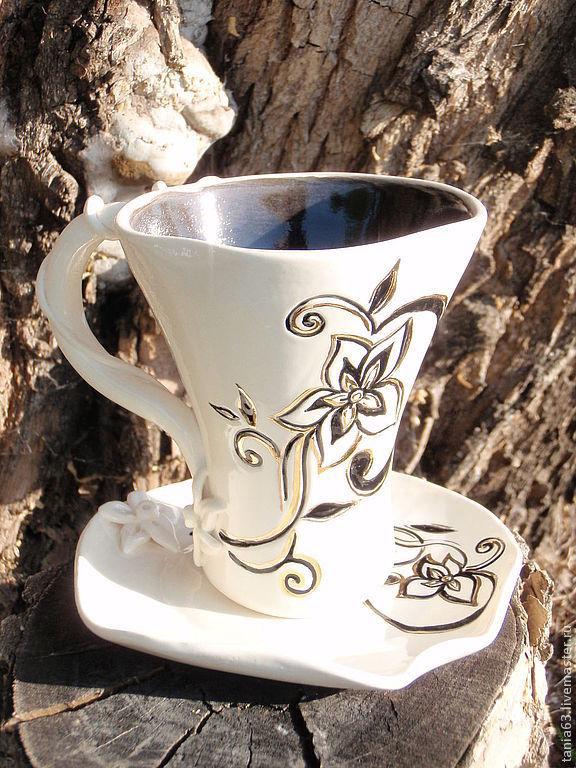 """Сервизы, чайные пары ручной работы. Ярмарка Мастеров - ручная работа. Купить Чайная пара """"Раннее утро"""". Handmade. Бокал"""