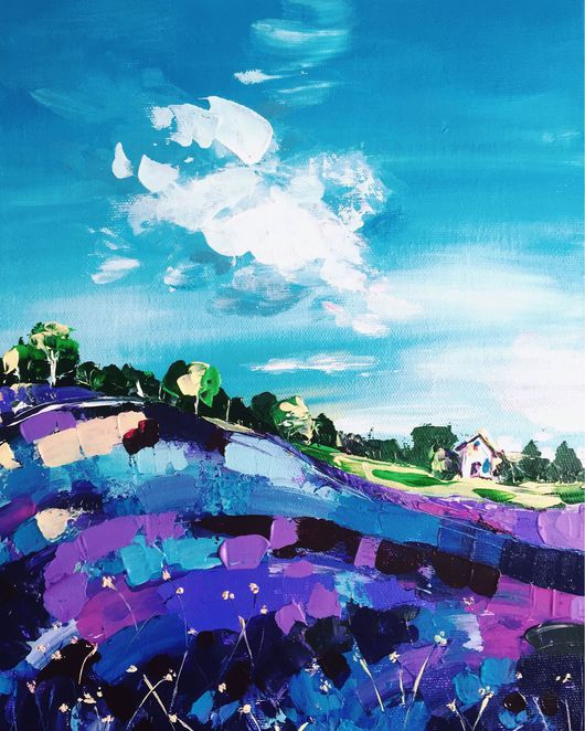 Пейзаж ручной работы. Ярмарка Мастеров - ручная работа. Купить Фиолетовое утро. Handmade. Весна, колокольчик, акрил, скетч
