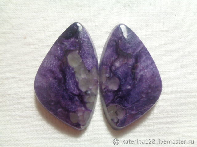cabochons from charoite backless, Cabochons, Alapaevsk,  Фото №1