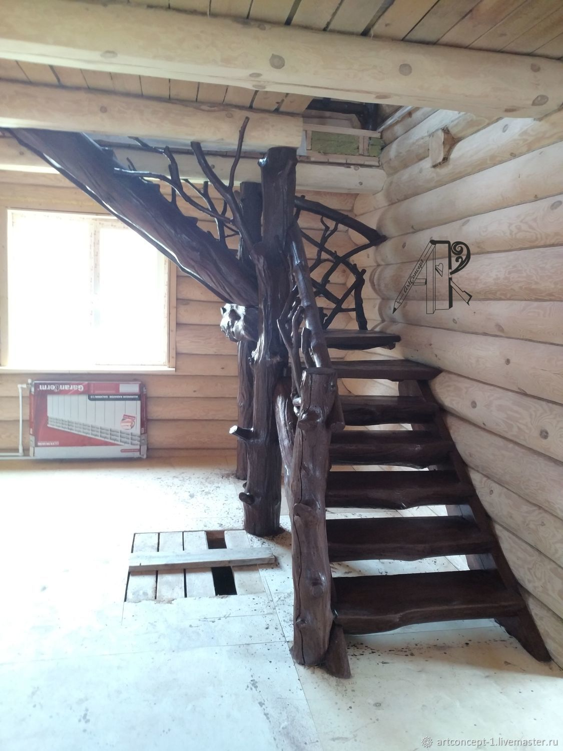 Wooden staircase to the second floor with 90 degree turn – shop online on  Livemaster with shipping - J0CNRCOM | Ryazan