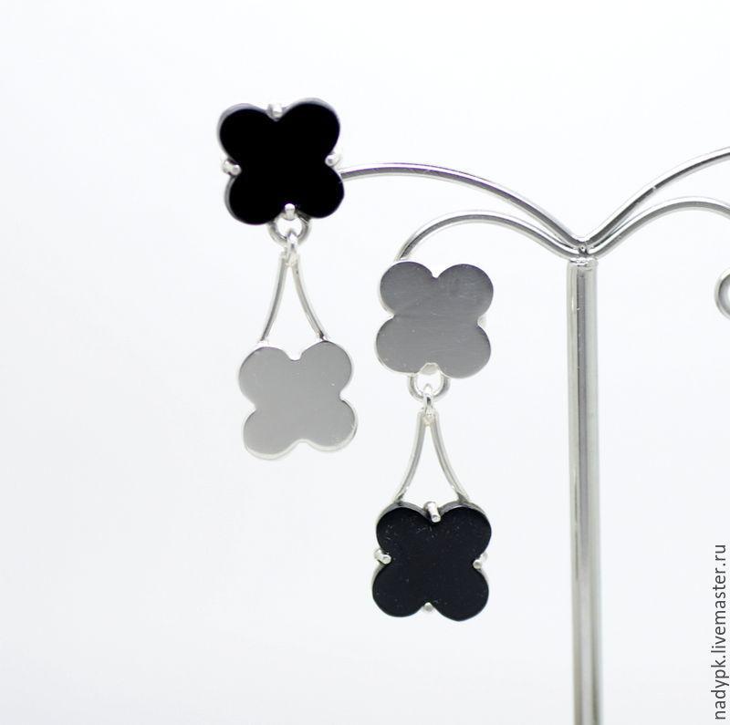 Earrings with onyx 'Asymmetric', silver, Earrings, Moscow,  Фото №1
