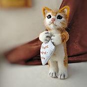 Куклы и игрушки handmade. Livemaster - original item Felt toy cat Peach, interior toy.. Handmade.