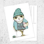 Открытки ручной работы. Ярмарка Мастеров - ручная работа Почтовая открытка «Сова-хипстер». Handmade.