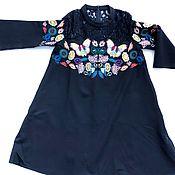 Одежда ручной работы. Ярмарка Мастеров - ручная работа Черное платье с цветами. Handmade.