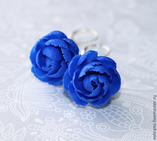 """Серьги ручной работы. Ярмарка Мастеров - ручная работа. Купить """"Наваждение"""" серьги. Handmade. Тёмно-синий, цветы ручной работы"""