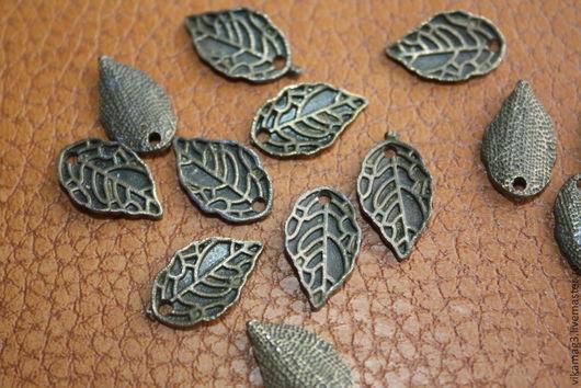 Для украшений ручной работы. Ярмарка Мастеров - ручная работа. Купить Подвеска Лист, цвет бронза , 15 мм. Handmade.