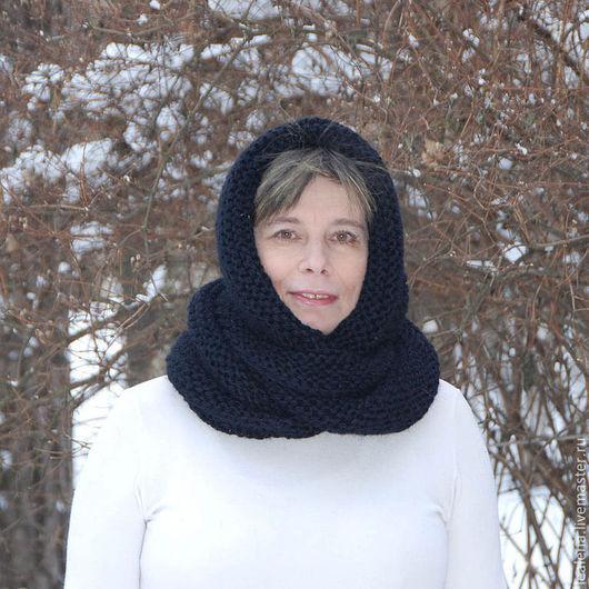 """Шали, палантины ручной работы. Ярмарка Мастеров - ручная работа. Купить Очень теплый снуд-шарф черный """"Вороново крыло"""" (шерсть). Handmade."""