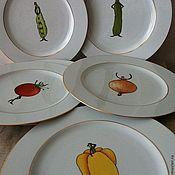 """Посуда ручной работы. Ярмарка Мастеров - ручная работа Набор тарелок """"Веселые овощи-2"""". Handmade."""