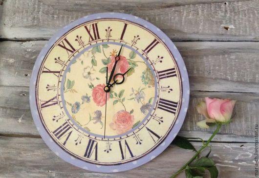 """Часы для дома ручной работы. Ярмарка Мастеров - ручная работа. Купить Часы """"Нежные розы"""". Handmade. Часы, роза, прованс"""