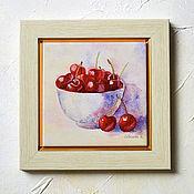 Картины и панно ручной работы. Ярмарка Мастеров - ручная работа Картина с черешней  Красная Черешня, акварель. Handmade.