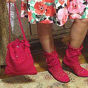Обувь ручной работы. Ярмарка Мастеров - ручная работа комплект сапожки+сумочка,авторская работа. Handmade.