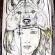 Кулон из бивня Мой Тотем-Волк, техника скримшоу