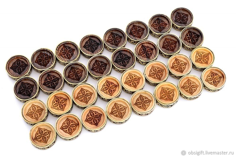 Set of backgammon chips 'Pattern' with bronze, 29 mm, Harutyunyan, Chips and dice, St. Petersburg,  Фото №1