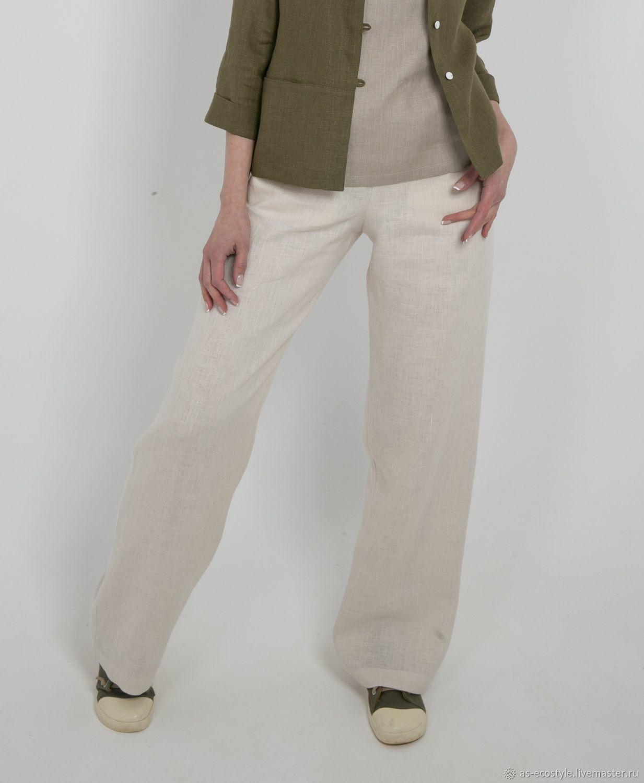 Брюки, шорты ручной работы. Ярмарка Мастеров - ручная работа. Купить Льняные брюки прямые. Handmade. Fashion, женская одежда