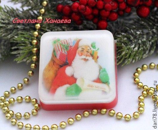 """Мыло ручной работы. Ярмарка Мастеров - ручная работа. Купить Мыло с картинкой """"Санта"""". Новый Год. Мыло """"Дед Мороз"""". Дед Мороз.. Handmade."""