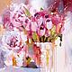 Картины цветов ручной работы. Ярмарка Мастеров - ручная работа. Купить Purple. Handmade. Тюльпаны, утро, кремовый, необычный подарок