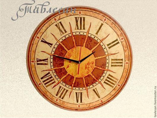 """Часы для дома ручной работы. Ярмарка Мастеров - ручная работа. Купить Часы настенные """"Солнце Италии"""" круглые терракота. Handmade."""