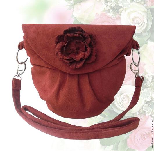 сумка из замши, сумка через плечо, необычная сумка,  яркая сумка, сумка с цветами, сумка с аппликацией, маленькая сумка, сумка с декором, сумка для торжества, сумка из кожи, сумка для девушки