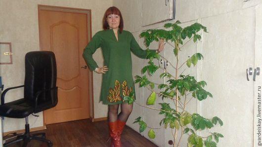 """Платья ручной работы. Ярмарка Мастеров - ручная работа. Купить Платье  офисное """"Осень"""". Handmade. Зеленый, теплое платье"""