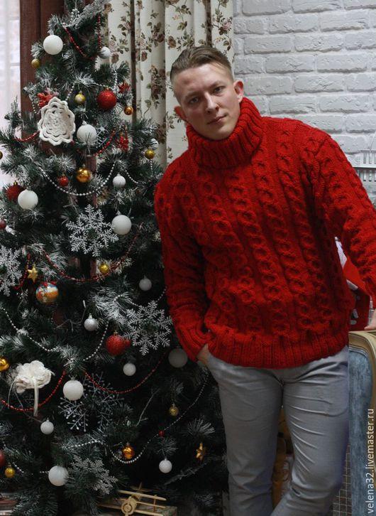 """Для мужчин, ручной работы. Ярмарка Мастеров - ручная работа. Купить Свитер """"Алекс"""" на Рождество!. Handmade. Ярко-красный"""