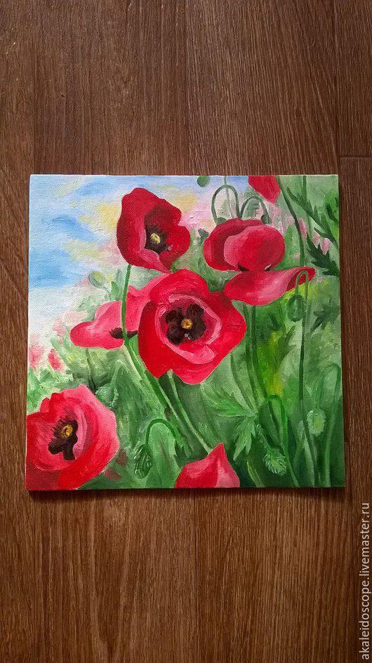 """Картины цветов ручной работы. Ярмарка Мастеров - ручная работа. Купить """"Маки в поле"""". Handmade. Ярко-красный, картина в подарок"""