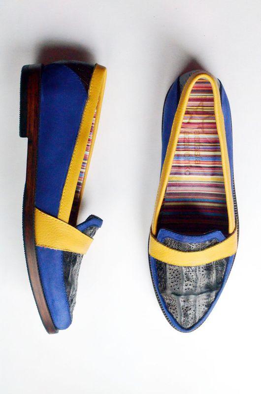 """Обувь ручной работы. Ярмарка Мастеров - ручная работа. Купить Лоферы """"Лазурное лето"""". Handmade. Комбинированный, лоферы, желтый"""