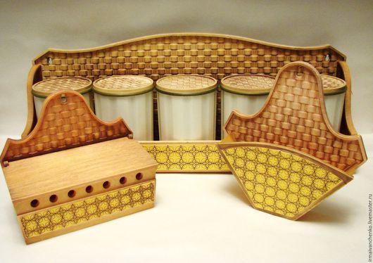 Декупаж и роспись ручной работы. Ярмарка Мастеров - ручная работа. Купить Кухонный набор для специй + салфеточница + ларчик (набор для декупажа). Handmade.