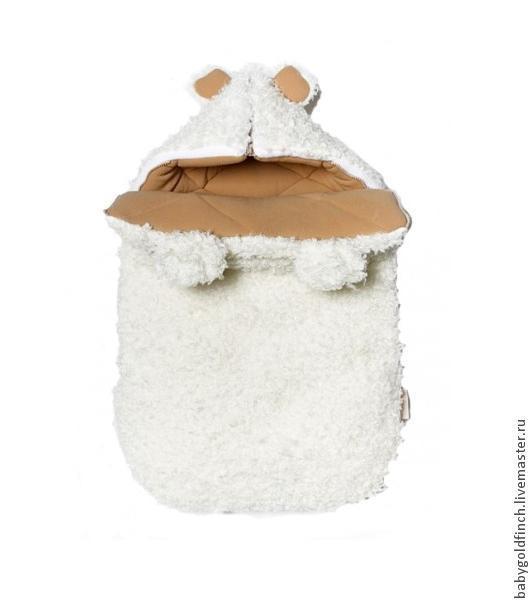 """Для новорожденных, ручной работы. Ярмарка Мастеров - ручная работа. Купить Зимний конверт для новорожденного на выписку и в коляску мишка """"Умка"""". Handmade."""