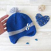Работы для детей, ручной работы. Ярмарка Мастеров - ручная работа шапка для мальчика вязаная шапка детская синий серый, 3-6 мес. Handmade.