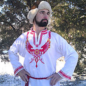 Русский стиль handmade. Livemaster - original item Men`s shirt Shield of Perun. Handmade.