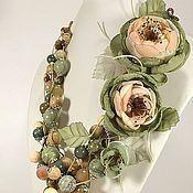 Украшения handmade. Livemaster - original item Nymph Of The Morning Flowers. kit. Necklace, pendant, two brooches flower.. Handmade.