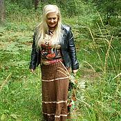 Одежда ручной работы. Ярмарка Мастеров - ручная работа Юбка вязаная коричневая. Handmade.