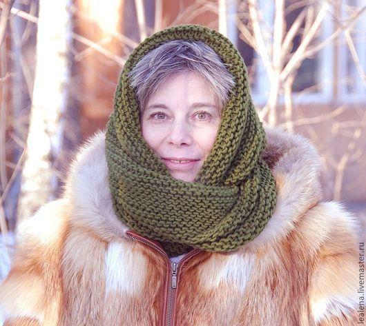 """Шали, палантины ручной работы. Ярмарка Мастеров - ручная работа. Купить Снуд-шарф """" Еловый"""" (полушерсть). Handmade. Снуд"""