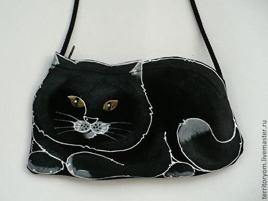 Сумки и аксессуары ручной работы. Ярмарка Мастеров - ручная работа. Купить Сумочка-кармашек Black cat. Handmade. Сумка, кот